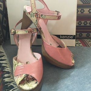 Kenzie leather and tapestry sandals